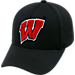 Front view of Top Of The World Wisconsin Badgers College Rails Performance Flex Fit Hat in Black