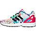 Left view of Girls' Preschool adidas ZX Flux Casual Shoes in White/Core Black/Bold Pink