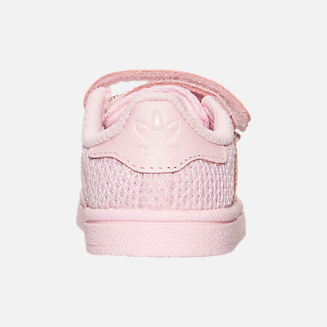 Back view of Girls' Toddler adidas Superstar Casual Shoes in Pink