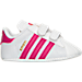 Right view of Girls' Infant adidas Superstar Crib Shoes in White/Pink