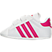 Left view of Girls' Infant adidas Superstar Crib Shoes in White/Pink