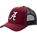 Front view of Zephyr Alabama Crimson Tide College Staple Trucker Snapback Hat in Team Colors