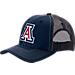 Front view of Zephyr Arizona Wildcats College Staple Trucker Snapback Hat in Team Colors