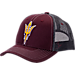 Front view of Zephyr Arizona State Sun Devils College Staple Trucker Snapback Hat in Team Colors