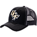 Front view of Zephyr Central Florida Knights College Staple Trucker Snapback Hat in Team Colors