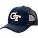 Front view of Zephyr Georgia Tech Yellow Jackets College Staple Trucker Snapback Hat in Team Colors
