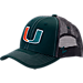 Front view of Zephyr Miami Hurricanes College Staple Trucker Snapback Hat in Team Colors