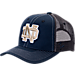Front view of Zephyr Notre Dame Fighting Irish College Staple Trucker Snapback Hat in Team Colors