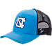 Front view of Zephyr North Carolina Tar Heels College Staple Trucker Snapback Hat in Team Colors