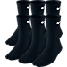 Front view of Kids' Nike Performance Cushion 6-Pack Crew Socks - Size Large in Black