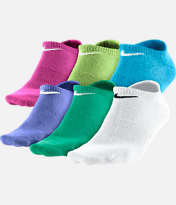 Girls' Nike 6-Pack Non-Cushioned Cotton No-Show Socks - Size Large Product Image