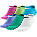 Front view of Girls' Nike 6-Pack Non-Cushioned Cotton No-Show Socks - Size Large in Multi-Color