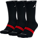 Front view of Kids' Jordan DRI-Fit 3-Pack Crew Socks in Black/Red