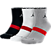 Front view of Jordan Dri-FIT 3-Pack Low Quarter Socks in 010