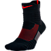 Front view of Men's Nike Elite Versatility Mid Basketball Quarter Socks in Black/University Red