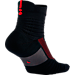 Back view of Men's Nike Elite Versatility Mid Basketball Quarter Socks in Black/University Red