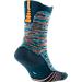 Front view of Men's Nike Elite Versatility Basketball Crew Socks in Squadron Blue/Light Blue/Citrus