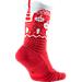 Front view of Unisex Nike Elite Versatility Christmas Crew Basketball Socks in University Red/White/Team Red