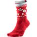 Back view of Unisex Nike Elite Versatility Christmas Crew Basketball Socks in University Red/White/Team Red