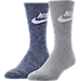 Front view of Men's Nike Sportswear Advance Crew Socks - 2 Pack in Blue/White