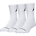 Front view of Jordan Jumpman 3-Pack Crew Socks in White/White/White