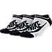 Front view of Women's Nike Sportswear Striped No-Show Socks - 3-Pack in White/Black