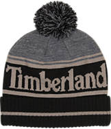 Timberland Color Blocked Logo Watchcap Pom Beanie Hat