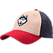 Front view of Zephyr UConn Huskies College Triad Strapback Hat in Team Colors
