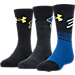 Front view of Kids' Under Armour SC30 Phenom 3-Pack Crew Socks in Royal/Black