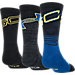 Back view of Kids' Under Armour SC30 Phenom 3-Pack Crew Socks in Royal/Black