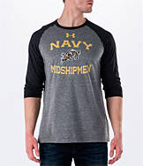 Men's Under Armour Navy Midshipmen College Charged Tri-Blend Henley Shirt