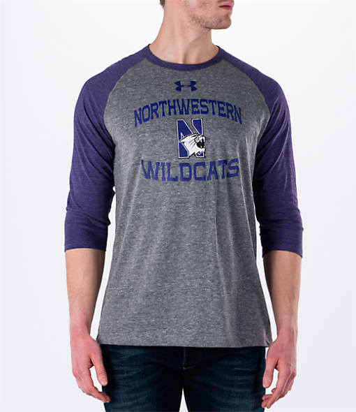 Men's Under Armour Northwestern Wildcats College Charged Tri-Blend Henley Shirt