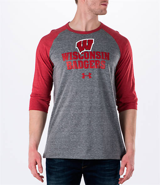 Men's Under Armour Wisconsin Badgers College Charged Tri-Blend Henley Shirt