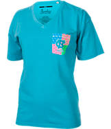 Women's Press Box North Carolina Tar Heels College Patchwork V-Neck T-Shirt