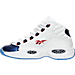 Left view of Boys' Grade School Reebok Question Mid Basketball Shoes in White/Pearlized Navy/Red