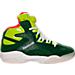 Right view of Men's Reebok Shaq Attaq Retro Basketball Shoes in Racing Green/Sonic Green/White