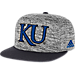 Front view of adidas Kansas Jayhawks College Sideline Player Snapback Hat in FAS