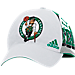 Front view of adidas Boston Celtics NBA Two-Toned Flex Performance Fitted Hat in White/Team