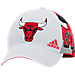 Front view of adidas Chicago Bulls NBA Two-Toned Flex Performance Fitted Hat in White/Team