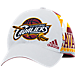 Front view of adidas Cleveland Cavaliers NBA Two-Toned Flex Performance Fitted Hat in White/Team