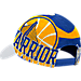 Back view of adidas Golden State Warriors NBA Two-Toned Flex Performance Fitted Hat in White/Team
