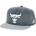 Front view of adidas Chicago Bulls NBA Textured Visor Snapback Hat in Team Colors
