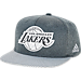 Front view of adidas Los Angeles Lakers NBA Textured Visor Snapback Hat in Team Colors