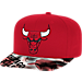 Front view of adidas Chicago Bulls NBA Sublimated Visor Snapback Hat in Team Colors