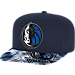 Front view of adidas Dallas Mavericks NBA Sublimated Visor Snapback Hat in Team Colors