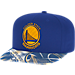 Front view of adidas Golden State Warriors NBA Sublimated Visor Snapback Hat in Team Colors