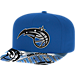 Front view of adidas Orlando Magic NBA Sublimated Visor Snapback Hat in Team Colors