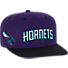 Front view of Men's adidas Charlotte Hornets NBA 2016 Draft Snapback Hat in Team Colors
