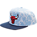Front view of adidas Chicago Bulls NBA Denim Snapback Hat in Blue