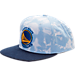 Front view of adidas Golden State Warriors NBA Denim Snapback Hat in Blue